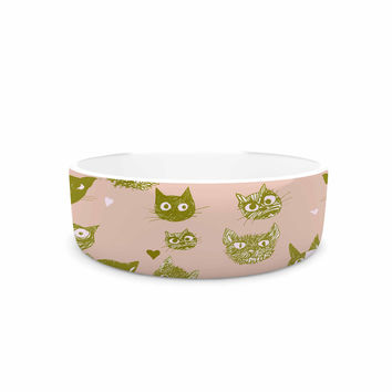"Marianna Tankelevich ""Vintage Cats"" Pink Pattern Pet Bowl"