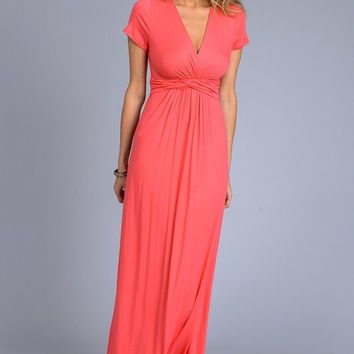 Solid Short Sleeve Maxi Dress - Coral