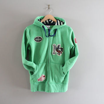 Micky Mouse Zip Up Hoodie Green Disney Hooded Sweatshirt Fleece Lining Hoodie Disneyland Jacket Hipster Unisex 90s Vintage Size M