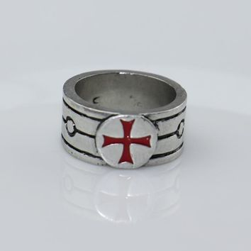 Assassin's Creed Templar Antique Silver Ring the Red Cross Assassins Creed Cosplay Gamer Jewelry Band Rings