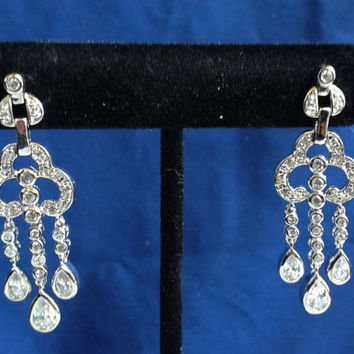 Vintage 1980's 925 Sterling Silver Cubic Zirconia Chandelier Post Earrings // 1.75 inches