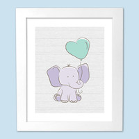 Baby Elephant with Balloon Nursery Art Print - Kids Decor, Art for Kids, Wood, Purple, Mint, Grey - 8x10