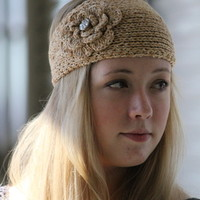 Knit Headband Two Tone Headbands with Buttons