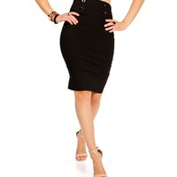 Black Button Front Pencil Skirt