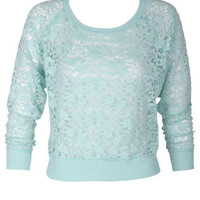 Brushed Lace Pullover Long-Sleeve