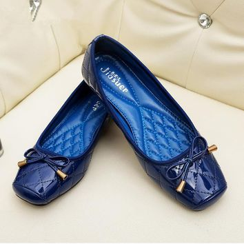 Patent Leather Flat Women Ballet Flat Shoes
