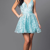 Short Deep V-Neck Floral Sequin Design Dress