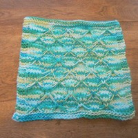 Turquoise, Lime Green and White Butterfly Stitch Dish/Wash Cloth | hollyknittercreations - Knitting on ArtFire