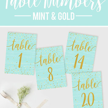 Wedding Table Numbers, Mint Gold Table Numbers, Reception Confetti Table Numbers, DIY Wedding, Printable Table Numbers, Rustic Wedding