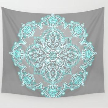 Cilected Mandala Tapestry Sky Blue Floral Wall Tapestry Indian Bedding Sheet Boho Beach Wedding Table Decorations Home Decor