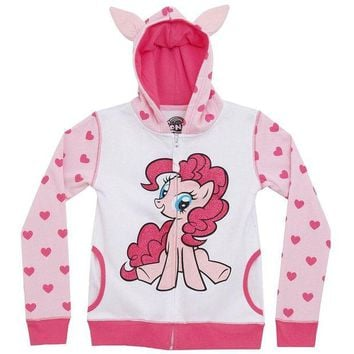 DCCK8UT My Little Pony Pinkie Pie Front Girls Youth Costume Zip Hoodie
