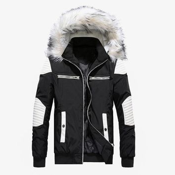 Winter Jacket Men New Big Fur Hooded Thick Warm Mens Winter Coats Patchwork Color Windproof Parka Men Outwear