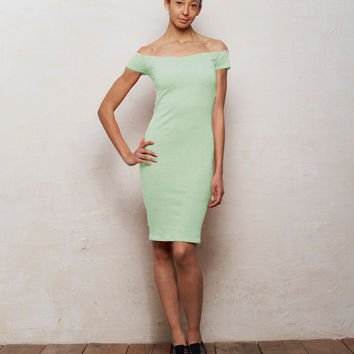 Pastel Mint Green Off Shoulder Bodycon Bardot Dress with Cut Out