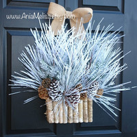 HOLIDAYS wreaths Christmas wreath Christmas wreaths winter wreath front door wreaths decor birch bark decorations wreath