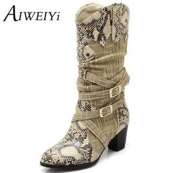 Women's Winter Snow Boots Lady's Western Cowboy Boots Snake Print Mid Calf Snow Boots