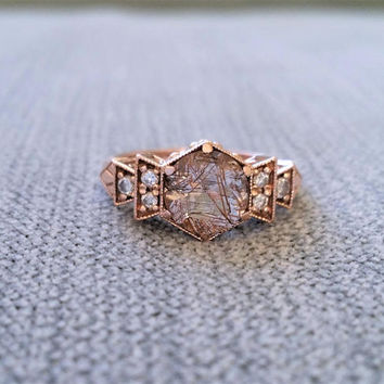 "Antique Diamond Bronze Rutilated Quartz Engagement Ring Rose Gold 1920s Red Copper Gemstone Rustic Bohemian PenelliBelle ""The Florence"""
