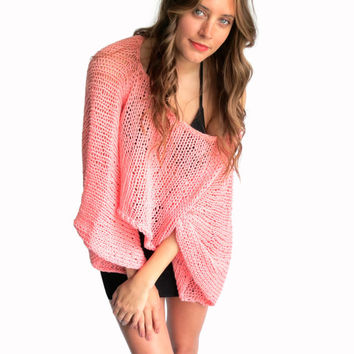 Loose Knit Summer Sweater Top Oversized Boho // Yucatan Sweater in Nymph // Many Colors Available