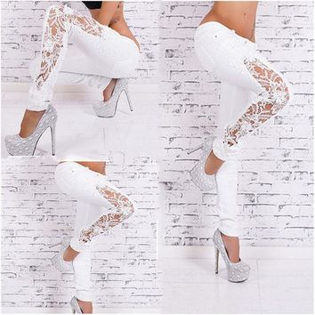 LMFHY3 2016 Spring Autumn Fashion White Lace Classical Slim Skinny Jeans Woman Trousers Fit Sexy Jeans Femme Pencil Pants
