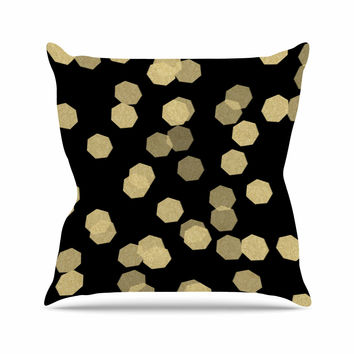 "Chelsea Victoria ""Confetti Noir"" Black Gold Outdoor Throw Pillow"