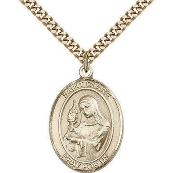 "Saint Clare Of Assisi Medal For Men - Gold Filled Necklace On 24"" Chain - 30 ... 617759387247"