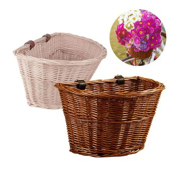 Wicker Bicycle Basket Lightweight Cycling Bike Basket For Transporting Shopping