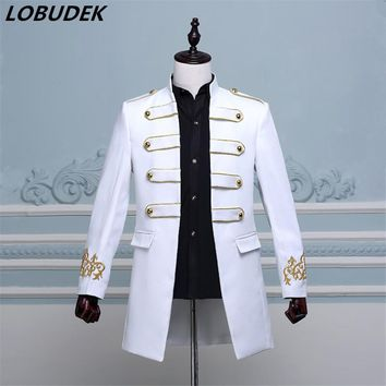 2017 fashion men costume long jacket blazer Male groom prom clothes singer dancer star performance nightclub bar wedding party