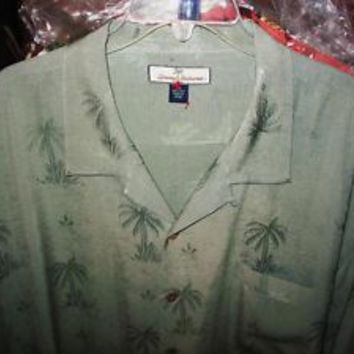 TOMMY BAHAMA HAWAIIAN SHIRT GRAY OLIVE PALMS CAMP CASUAL!SIZE XL !100%SILK! !