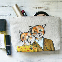 Linen Cosmetic Bag Fox Bag Fantastic Mr Fox by ClothesWithSoul