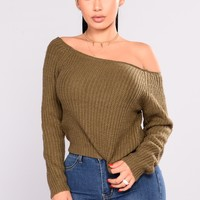 Riley Off Shoulder Sweater - Olive