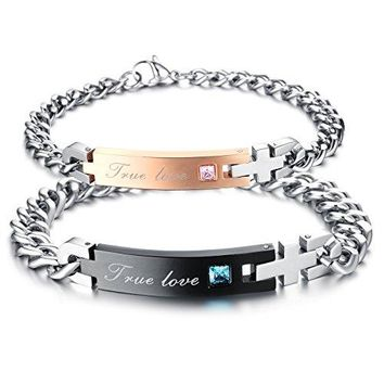 His or Hers Matching Set Couple Stainless Steel Bangle Bracelet Super Love Simple Korean Style Antifatigue in a Gift Box