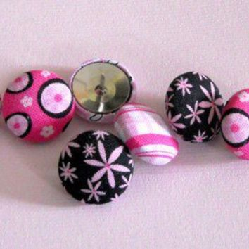 EMILY  pink and black Push Pins/Thumbtacks  from by JeJeweled