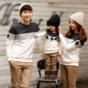 Family Look 2016 Fashion Mother Father Baby Cotton Mommy and Me Clothes Family Clothing Embroidery Star Family Matching Outfits