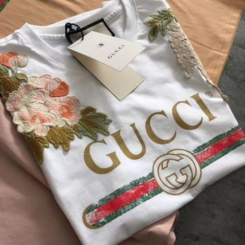 PEAP2Q gucci garden embroidered t shirt