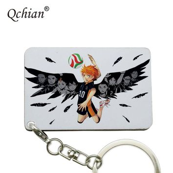 Anime Haikyuu Keychain Volleyball Lovers Struggle for Glory Men Key Chain Holder Ring can be Customized