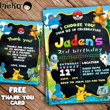 SALE Pokemon Birthday Invitation and FREE Thank You Card / Printable/Personalized / Invitation for Girl and Boy / Birthday Party Celebration