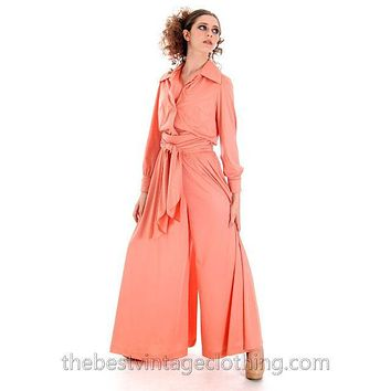 Vintage Jeremy Alan Phillips Palazzo Pants Outfit Peach Polyester Knit  1970s Small- Med