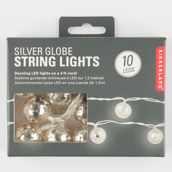 Kikkerland Silver Globe String Lights Silver One Size For Women 27096714001