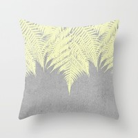 Concrete Fern Yellow Throw Pillow by Project M