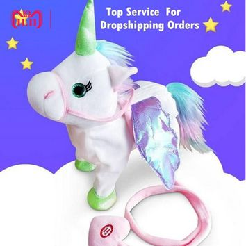 DROPSHIPPIN 35cm Electric Walking Unicorn Plush Toy Stuffed Animal Toy Electronic Music Unicorn Toy for Children Christmas Gift