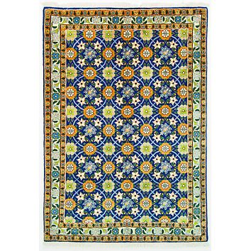 Oriental Veramin Wool Irannian Tribal Rug, Blue/Orange