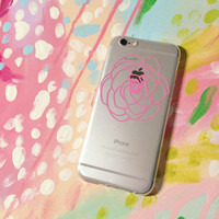 Pink Rose Clear Silicone iPhone 6 Case