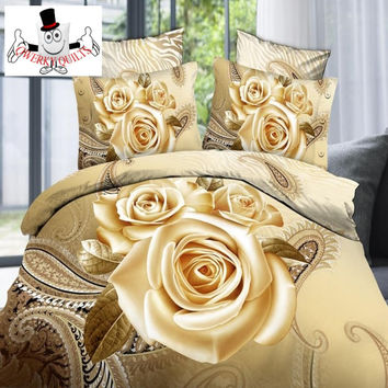 3D Rose Shiny Tan Floral Bedding Set and Quilt Cover