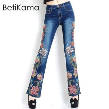 Embroidery Flower Flare Pants Jeans Woman With High Waist Plus Size Denim Skinny Jeans Push Up Jeans Femme 6Xl Size