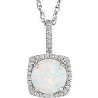 "Sterling Silver, Opal & Diamond 18"" Halo-Style Necklace"