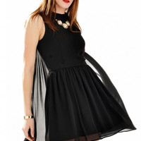 Black Pleated Mini Dress with Cape