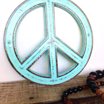 Turquoise Peace Sign - Bohemian Decor - Hippie Wall Art - Retro Decor - Peace Sign Decor - Bohemian Art - Turquoise Wall Decor - Retro Signs