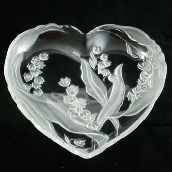 Mikasa Crystal Glass Frosted Bluebells Heart Shaped Dish Tray