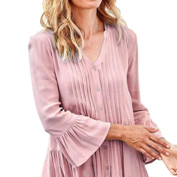 Pink Flounce Crinkle Button Down Tunic Top