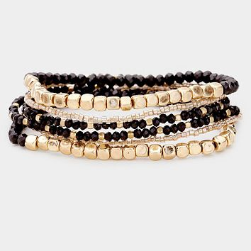 6Pcs - Gold Metal And Crystal Bead Layered Stretch Bracelet
