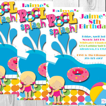 Pool Party Splash Birthday Invitation/Water Park Birthday Invitation/Summer Party/Pool Party/Digital/Printables
